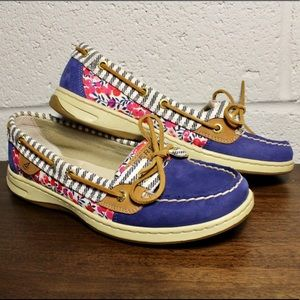 🚤 Sperry Top Sider Boat Shoes Floral Print Size 8